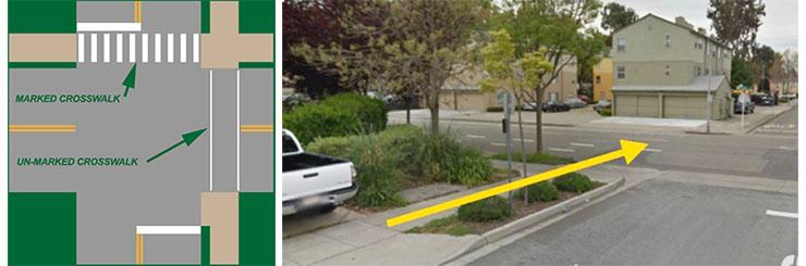 Image of unmarked crosswalks